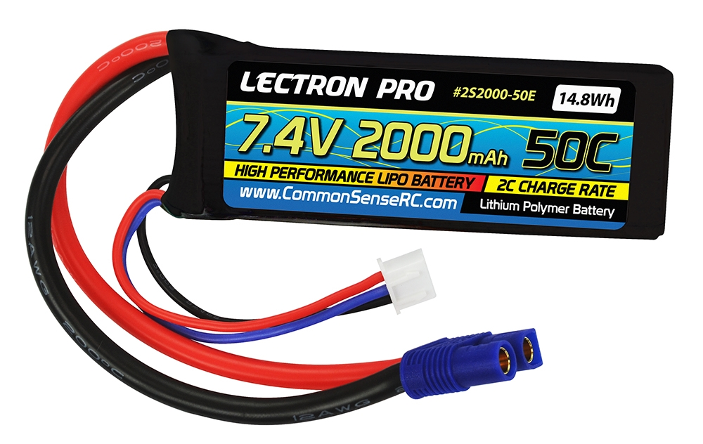 Lectron Pro™ 7.4V 2000mAh 50C Lipo Battery with EC3 Connector
