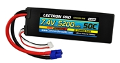 Lectron Pro 5200mAh 2S 7.4V 50C LiPoly Pack - EC3 Connector