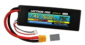 Lectron Pro™ 7.4V 7600mAh 75C Lipo Battery with XT60 & Traxxas Connector