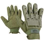 Gloves - V-TAC Full Finger Plastic Back -Olv-L