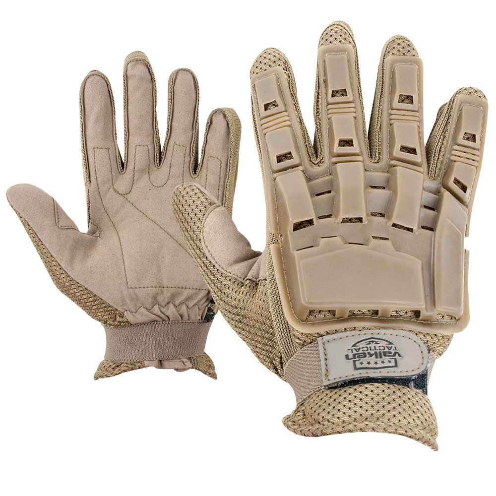 Gloves - V-TAC Full Finger Plastic Back NEW-Tan-M