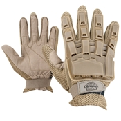 Gloves - V-TAC Full Finger Plastic Back NEW-Tan-S