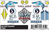 Pinecar P325 Stick-On Decal,Silver Shark