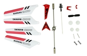 S107 RED SET (MAIN BLADES, TAIL DECOR, BALANCE BAR AND 2 TAIL BLADES)