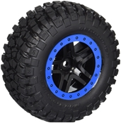 BFGoodrich Mud-Terrain tires (blue beadlock SCT, 4WD f/r, 2WD rear) pre-mounted on Split-Spoke wheels