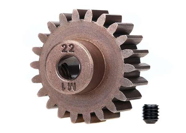 Gear, 22-T pinion (1.0 metric pitch) (fits 5mm shaft)/ set screw (compatible with steel spur gears)
