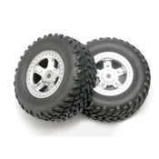 Chrome Wheel,RacingTire(2): 1/16 SLH by Traxxas