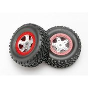Chrome Wheel,RacingTire,Red Beadlock(2): 1/16 SLH by Traxxas