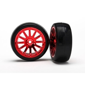 Slick Tires & 12 Spoke Red Wheels, Assm/Glued 2pc