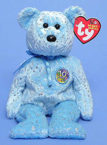 Ty Beanie Baby - Decade the Bear - Light Blue Version